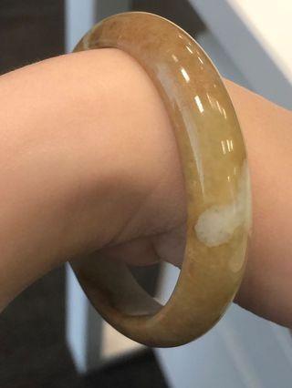 特式黃翡A玉手鐲正圈 56.1(yellow jade bangle)
