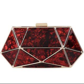 Red Acrylic Hexagon Clutch  / Wedding Formal Occasion Evening Statement Bag