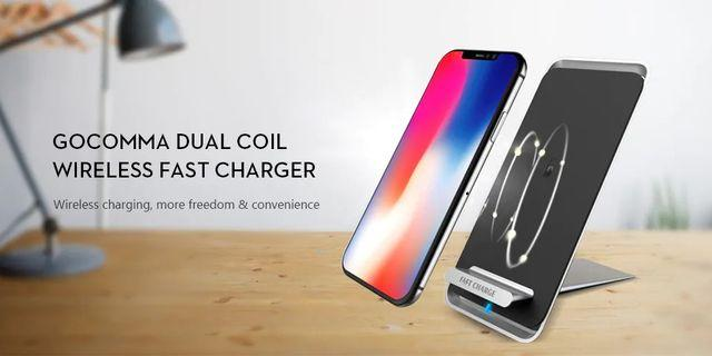 GOCOMMA Dual Coil Wireless Fast Charger - Silver