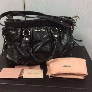 Lightly Used Pre-Loved Miu Miu Gathered Leather Bag