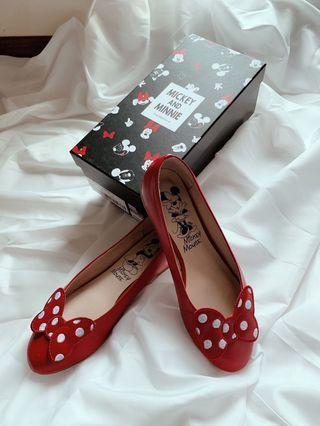 GraceGift迪士尼聯名米妮蝴蝶結包頭平底鞋