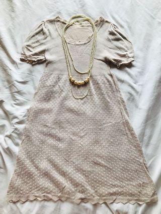 日本 花邊 娃娃裙 Japan lace knit dress