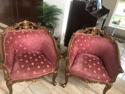 Pair of Barrel style armchairs.