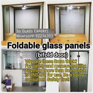 🚚 Bifold glass door foldable panel renovation