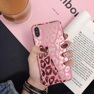 Leopard print mirror pink iphone 6 7 8 plus X XR XS Max