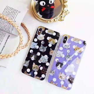 Cute cat polka dot black iphone 6 7 8 plus X XR XS Max case