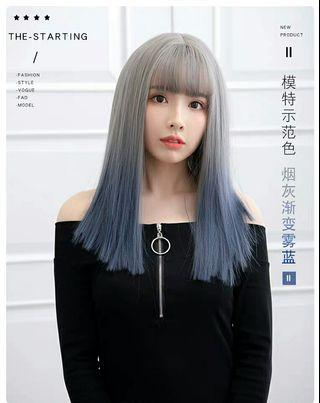 (NO INSTOCKS!)Preorder korean style natural air bangs straight full Wig*waiting time 15 days after payment is made * chat to buy to order