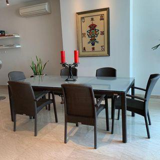 Rausch Patio Dining Table with 6 Matching Chairs