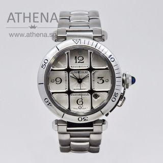 "CARTIER PASHA XL "" SILVER DIAL"" WITH GRID AUTOMATIC (40MM) W31040H3  JGWCT_014"