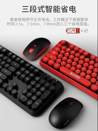PO LLM190958 Retro Typewriter Style Wireless Keyboard + Mouse