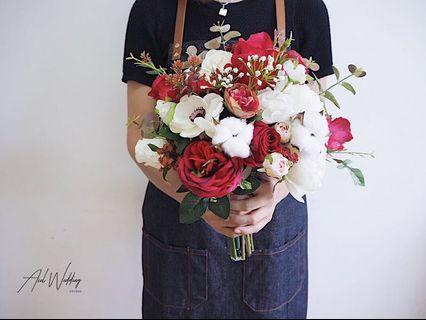 定製 紅白結婚絲花球 Tailor made wedding bouquet 💐