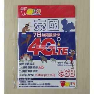 Happy Telecom開心電訊 泰國7日4G無限數據漫遊上網卡Thailand 7-Days 4G Unlimited data Sim Card, 免wifi蛋, 無須登記, 即買即用!