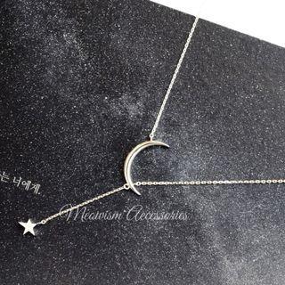 韓國925純銀星月Y形頸鏈