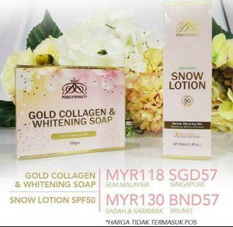 Gold Collagen & Whitening Soap + Snow Lotion SPF50