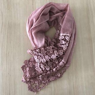 Brown or pink linen shawl/scarf with classy lace details