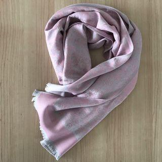 Reversible pink/grey cashmere floral shawl/scarf