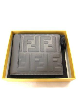 Fendi Grey Embossed Logo Billfold Wallet