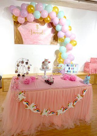 🚚 Dessert table backdrop unicorn theme baby shower children's birthday party set up