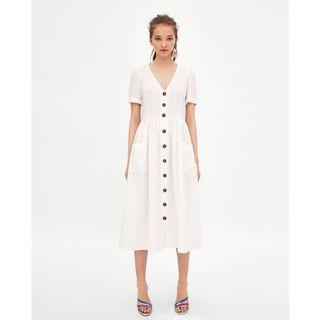 (BN) 💯 Authentic Zara Linen Midi Dress with Buttons