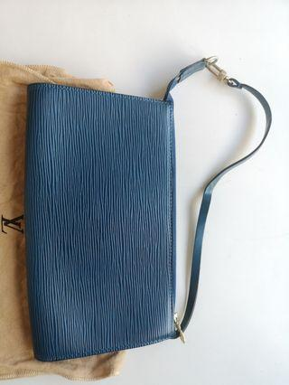 Louis Vuitton Hand bag in Blue Leather with Original Dust Bag,Vintage,bought in Europe LV shop