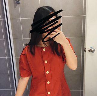 New Red Orange Button Up Dress