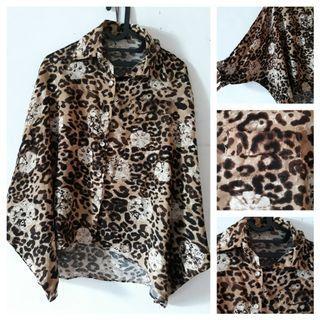 Kemeja batwing leopard / bigsize / jumbosize