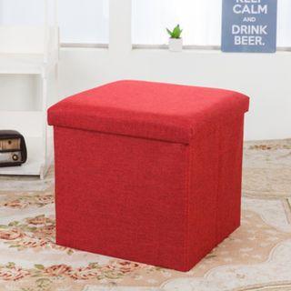 Fabric Wine Red 38*38*38cm Foldable Storage Box Stool
