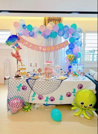 🚚 Mermaid theme birthday candy bar dessert table / baby shower / 100 days / children's birthday set up