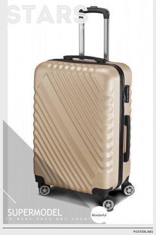 24吋ABS斜紋香檳金四輪行李箱(全新)最後一個
