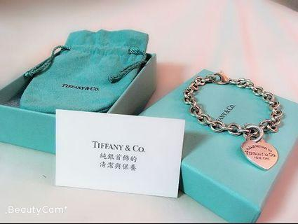 Tiffany & Co. 純銀愛心手鍊 (真品)