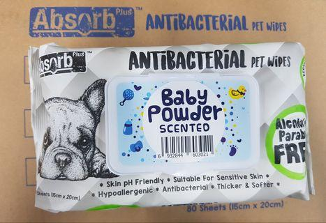 ABSORB PLUS ANTI-BACTERIA PET WIPES (Baby Powder Scented)