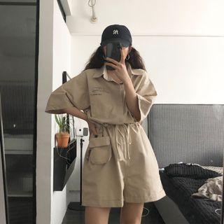 CD2348 (全新) 女裝 工裝襯衫收腰連體短褲高腰闊腿褲寬鬆直筒褲