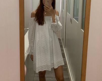 TEM White Off Shoulder Self Tie Dress