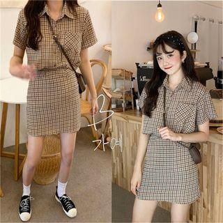 CD2349 (全新) 女裝 短袖襯衣女高腰半身裙 套裝流行洋氣兩件套潮