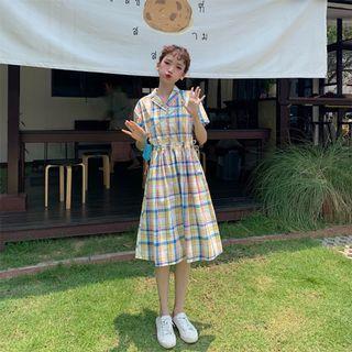 CD2350 (全新) 女裝 格子連衣裙仙女 甜美A字裙很仙 裙子桔梗裙