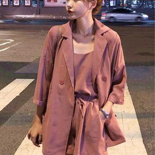 CD2352 (全新) 女裝 套裝小吊帶+西裝外套+高腰短褲純色三件套潮