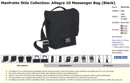 <USED> Manfrotto Allegra 10 Messenger Bag