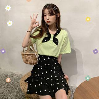 CD2356 (全新) 女裝 波點半身短裙 兩件套洋氣很仙 短袖T恤套裝