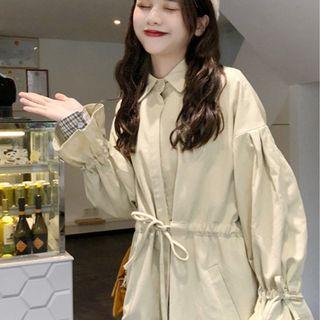 CD2357 (全新) 女裝 流行中長 風衣系帶寬鬆外套小個子