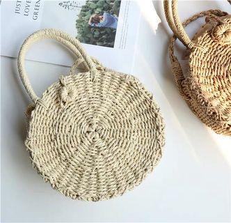 你離海邊只差一個草編包!小清新沙灘度假圓形手提草編包