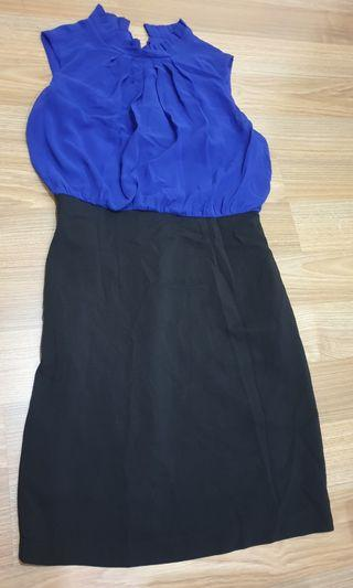 Blue and black work dress with side pockets