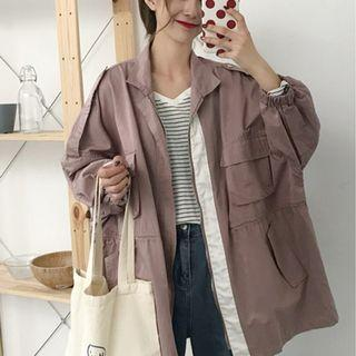 CD2365 (全新) 女裝 春秋流行寬鬆工裝翻領中長 長袖風衣外套潮