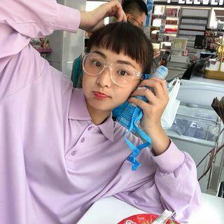 男友風 寬鬆套頭上衣韓版學生純色POLO領長袖T恤女#半價衣服拍賣會