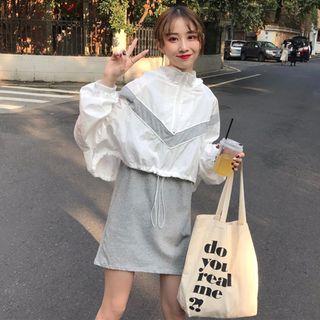 CD2366 (全新) 女裝 很仙 兩件套洋氣長袖寬鬆連帽上衣+吊帶連衣裙套裝女潮