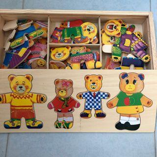 (Free Postage) BN Wooden Bear Puzzle Dress Up Set