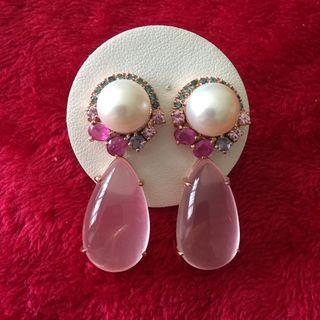(RESERVED) Pear w semi precious stones earrings w rose Quartz drop