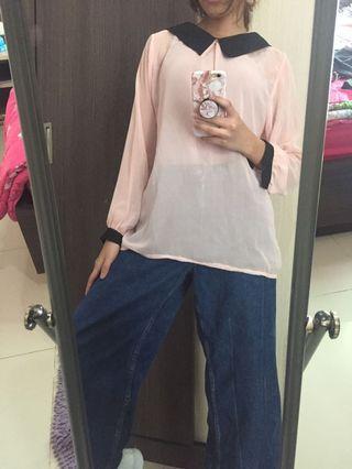 Pink collar top s/m