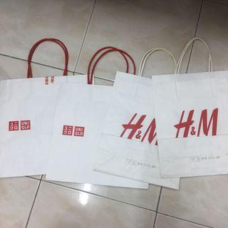 H&M Uniqlo Paper Bags