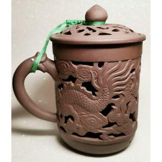 Purple Clay Hallow Dragon Tea Cup