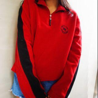 🚚 HANG TEN 古著紅色長袖T恤✨🔥現貨💖Vintage quarter zip